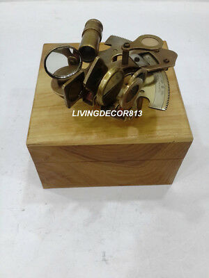 Nautical 4'' Antique Brass Sextant With Natural Wooden Box Office Decor