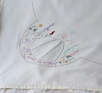 Vintage Hand Embroidered Crinoline Lady Tablecloth 38 x 42 Inches Approx