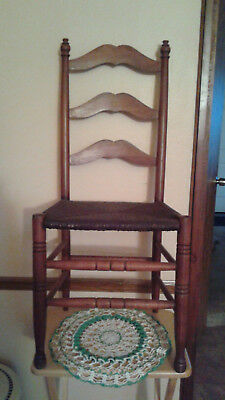 Vintage Ladder Back Chair with Rush Seat