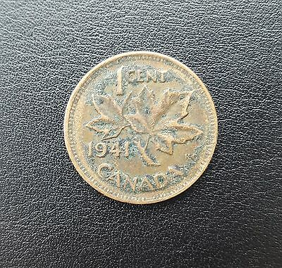 Canada 1941 1 Cent Copper One Canadian Penny