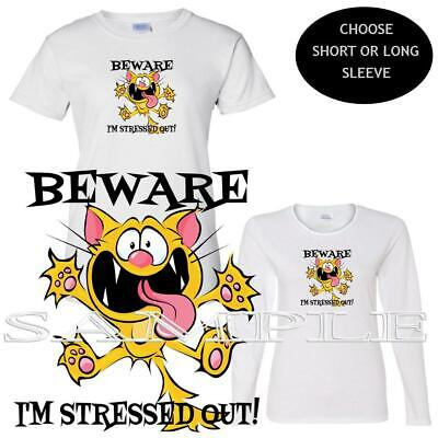 I'm Stressed Out Crazy Cartoon Cat Short / Long Sleeve Ladies Custom T Shirt