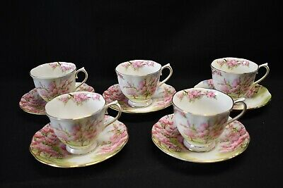 Royal Albert England Bone China Blossom Time Set of 5 Cups & Saucers