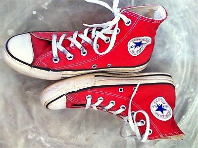 Vintage CONVERSE CHUCK TAYLOR ALL STAR Men's 6 Red Canvas High-Top Sneakers USA