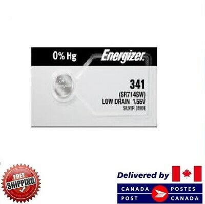 1 PC ENERGIZER 341 Watch Batteries 0% MERCURY SR714SW 341 CDN SELLER