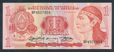 "Honduras: 30-3-1989 1 Lempira ERROR ""EXCESS SILK THREAD"". Pick 68c UNC"