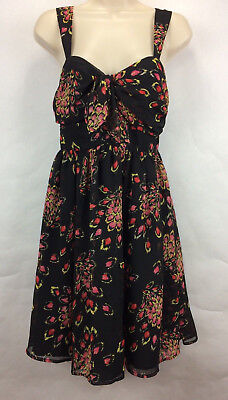 3783ab3fd29 Candie s Summer Dress Size 5 Black Pink Floral Open Back Sleeveless Short.