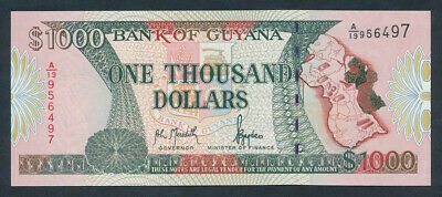 "Guyana: 1996 $1000 Signature 10 ""MAP OF GUYANA"" SCARCE. Pick 33 UNC"