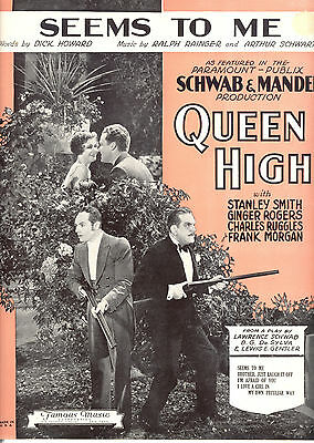 """QUEEN HIGH Sheet Music """"Seems To Me"""" Ginger Rogers Charles Ruggles Frank Morgan"""