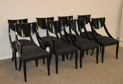 Eight Modern Italian Black Laquer Dining Room Chairs By Pietro Constantini
