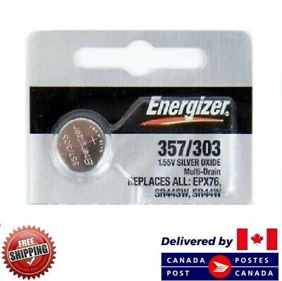 1 PC ENERGIZER 357 Watch Batteries 0% MERCURY SR44W 357/303 CDN SELLER