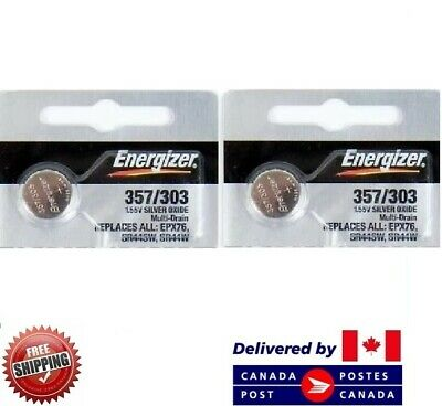 2 PCS ENERGIZER 357 Watch Batteries 0% MERCURY SR44W 357/303 CDN SELLER