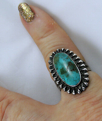 Fabulous Gorgeous Zuni Navajo Ring Natural Blue Gem Turquoise 1950s-1960s Size 6