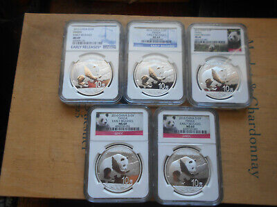 (5) 2016 China Silver-Panda Coins *NGC MS69* AS SHOWN*EARLY RELEASES*