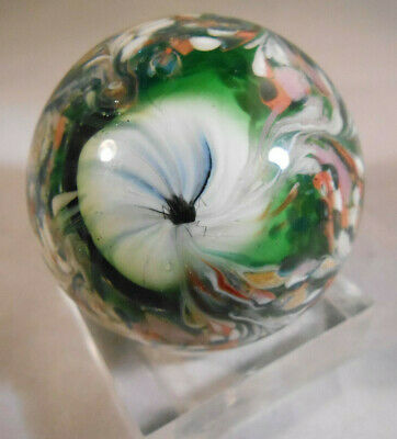"""Hand Made Art Glass Marble1.5"""" Inch. Signed """"MMM 13"""""""