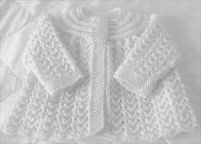 Beautiful Hand Knitted Matinee Coat/cardigan 0 - 6 Months White Sparkle