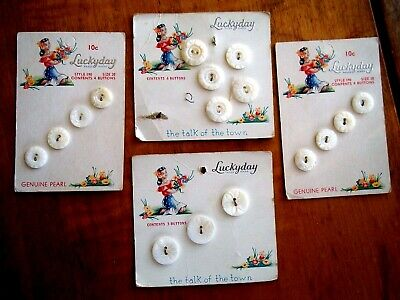 16 LUCKYDAY CARVED Mother Of Pearl MOP Shell Antique Vintage Buttons ON CARDS