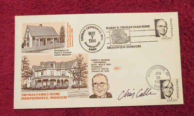 Two 1984 Harry Truman stamped covers - Both SIGNED by cover artist Chris Calle