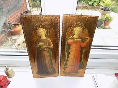 Pair Of Vintage Religious Wooden Wall Plaque By Ditta Bracci, Italy