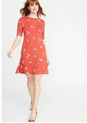 c5a5b8588590 OLD NAVY JERSEY Swing Dress - Red-Orange Floral - NWT - Women's ...