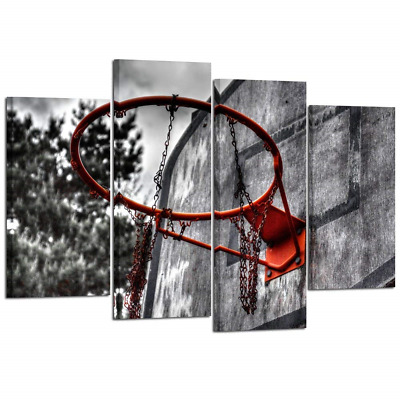 Kreative Arts 4 Piece Black White and Red Canvas Wall Art Old Basketball Poster