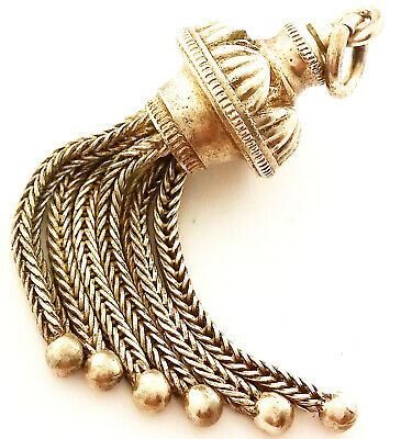 Beautiful Antique Solid Sterling Silver Albertina Chain Tassel Fob Charm