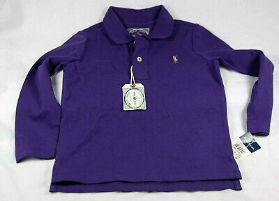 NWT Polo Ralph Lauren Girls Purple LS Polo Size 4/4T FREE SHIPPING