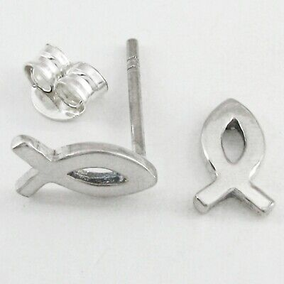 """ICHTHYS or """"JESUS Fish"""" Post Earrings in SOLID 925 Sterling Silver - NEW"""