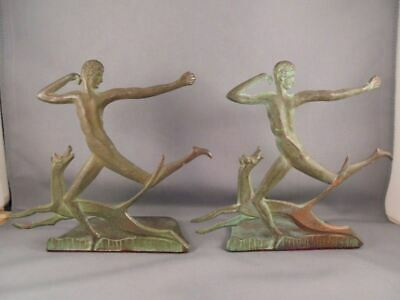 Old Vintage Art Deco Bronze Bookends Nude Male & Dog Spencer Guilford Conn