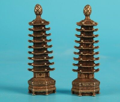 2 Unique Chinese Bronze Statue Tower Mascot Solid Decoration Gift