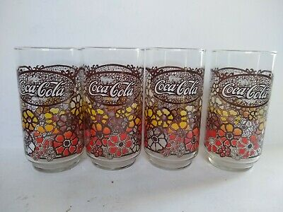 2 Vintage Coca Cola Drinking Glasses 1960s Tiffany Glass And
