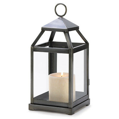 New Candle Lantern Rustic Silver Finish for Pillar Candle Iron and Glass Accent