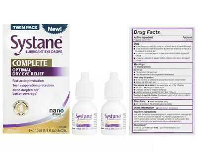 Systane 2*20mL ~Twin Pack~LUBRICANT EYE DROPS COMPLETE OPTIMAL DRY EYE RELIEF