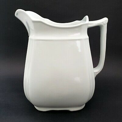 "Large Antique Alfred Meakin Royal Ironstone Pitcher White Pre 1897 9"" Tall"