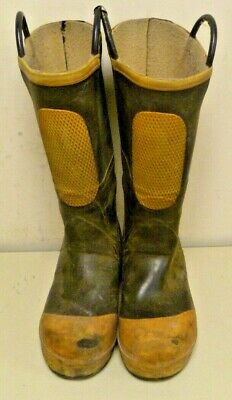 Size 9 Medium Ranger Shoe-Fit Firefighter Rubber Boots Turnout Steel Toe R002