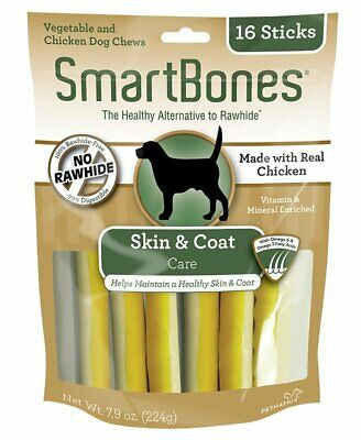 SmartBone Healthy Chew Functional Sticks Skin & Coat Dog Vitamins Minerals 16Pk