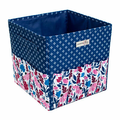 Square Yarn Caddy Blue/Pink Floral 28 x 28 x 28cm  Everything Mary EVM11101-1