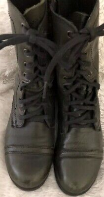 "a2c801f9896 STEVE MADDEN BLACK Leather Lace Up-Side Zip-1"" Combat Boots-Exc Cond ..."