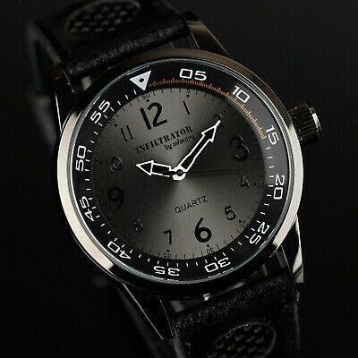 Infantry Infiltrator Mens Analog Quartz Wrist Watch Army Sport Black Leather New