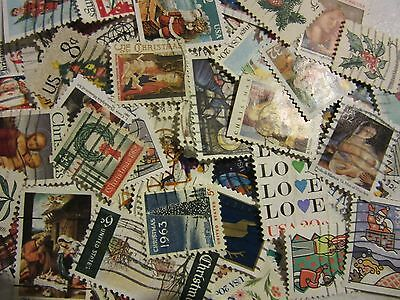 "Christmas And Love Stamp Hoard ""all Different Used Usa"" Free Shipping"
