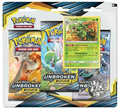 Pokemon TCG Unbroken Bonds Blister Pack Sceptile Promo 3 Booster Packs PRESALE