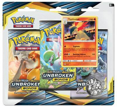 Pokemon TCG Unbroken Bonds Blister Pack Typhlosion Promo 3 Booster Packs PRESALE