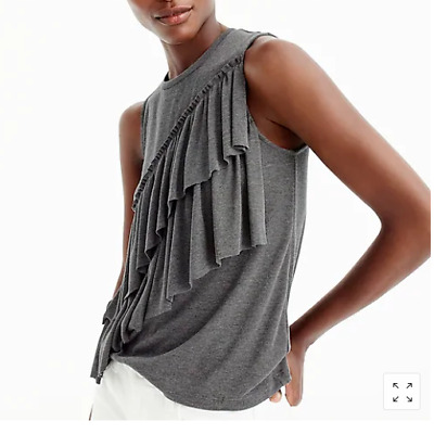 cdfbe3d815532 J. Crew Women s Drapey Ruffle Tank Top Size Small Gray Sleeveless Shirt
