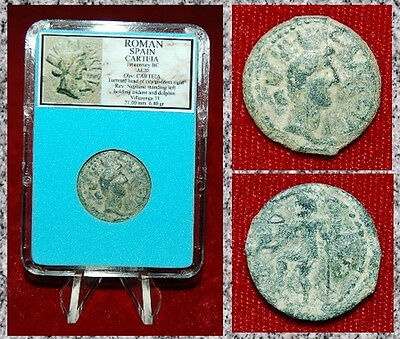 Ancient Coin Roman Spain Carteia Headof City Goddess Neptune On Reverse