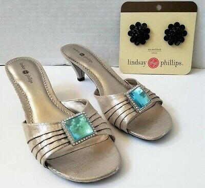 Lindsay Phillips Sharyn Champagne Kitten Heel Shoes Sandal New With Original Box