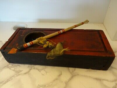 Antique Mongolian Buddhist Hand Made Ritual Wooden Box With Accessories