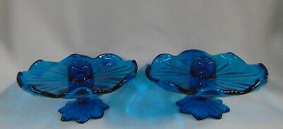 Pair Westmoreland Glass Lotus Flower Petal Bermuda Blue Ruffled Candle Holders