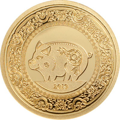 2019 1000 Togrog Mongolia Year of the Pig .9999 Gold Proof Coin