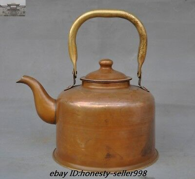 """Old Chinese""""民國三年""""Pure Bronze Copper Portable Teapot Heating Kettle water Pot"""
