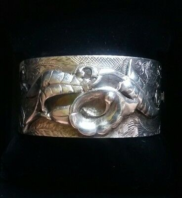 Antique Victorian Sterling Silver Etched Calla Lilly LRG Chunky Bangle Bracelet