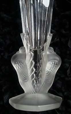 Antique Art Deco Fancy Frosted Peacock Or Pidgeon Vase